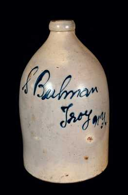 Stoneware Jug with Troy, NY Script Advertising
