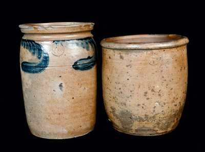 Lot of Two: Stoneware Crocks Signed P. HERRMANN, Baltimore circa 1870-1880