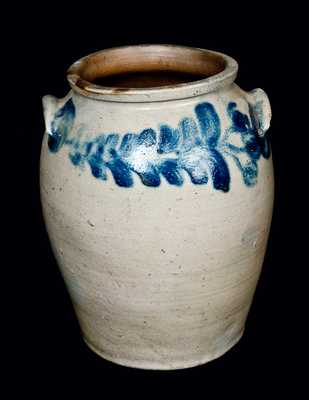 Four-Gallon Ovoid Baltimore Stoneware Jar with Tulip Decoration, circa 1825