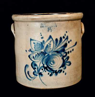 FORT EDWARD, NY Five-Gallon Stoneware Crock with Floral Decoration