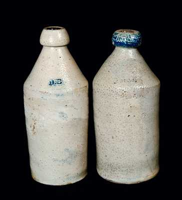 Lot of Two: Stoneware Bottles with Initials, One with Cobalt Spout