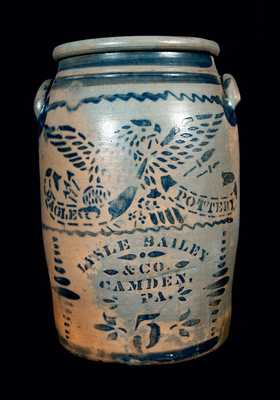 Rare CAMDEN, PA Advertising Stoneware Crock by EAGLE POTTERY
