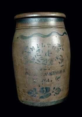 2 Gal. HAMILTON & JONES (Greensboro, PA) Stoneware Crock