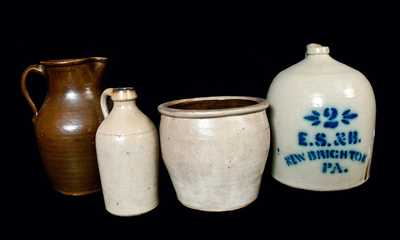 Lot of Four: Stoneware including E. S. & B. Jug and F. H. COWDEN Jar