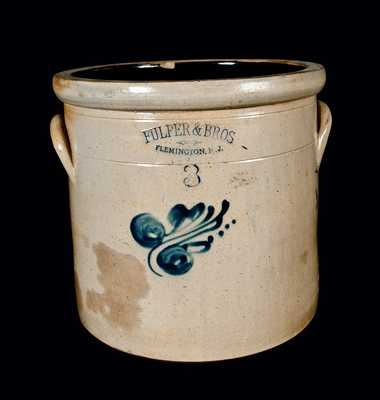 FULPER & BROS. / FLEMINGTON, NJ Stoneware Crock, Three-Gallon