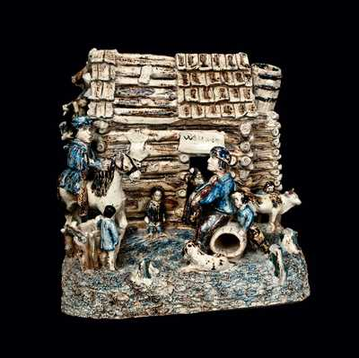 Stoneware Log Cabin Group (
