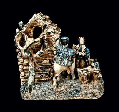 Extremely Rare and Important Stoneware Log Cabin Group (The Arkansas Traveler), probably Anna Pottery
