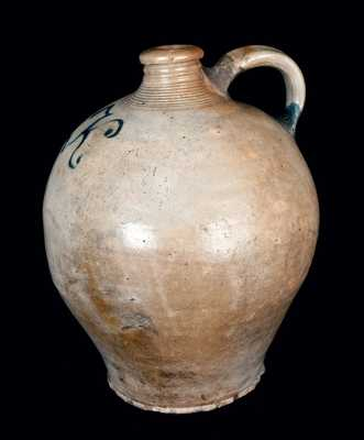 Early Ovoid New Jersey Stoneware Jug with Slip-Trailed