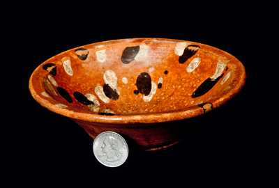 Rare Small North Carolina Redware Dish w/ Yellow- and Brown-Dotted Interior