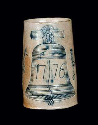 Rare Signed Philadelphia Stoneware Mug with Incised Liberty Bell