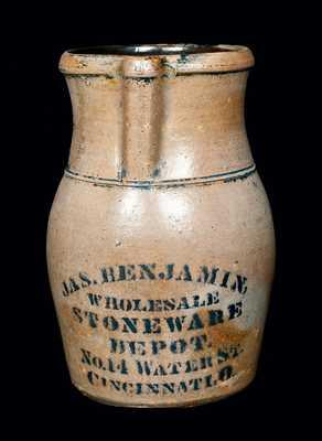 JAS. BENJAMIN / CINCINNATI, O. Stenciled Stoneware Pitcher