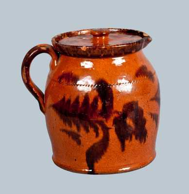 Rare Philadelphia Redware Batter Pitcher with Floral Decoration, circa 1865