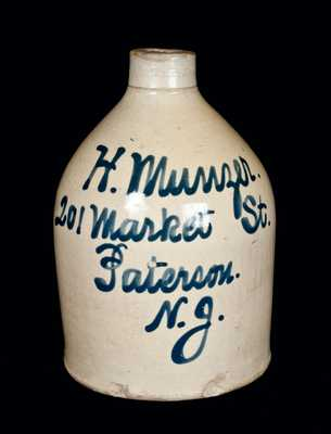 Half-Gallon Paterson, NJ Stoneware Advertising Jug.