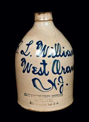 West Orange, NJ Stoneware Advertising Jug with Impressed Vinegar Advertising