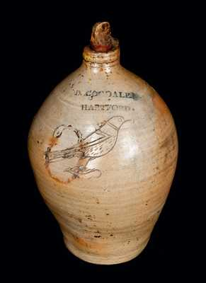 D. GOODALE. / HARTFORD Stoneware Jug with Incised Bird Decoration