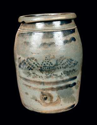 Western PA Stoneware Jar with Stenciled Eagle Decoration, Two-Gallon