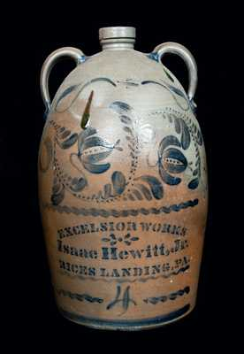 RICES LANDING, PA Double-Handled Stoneware Jug with Elaborate Decoration