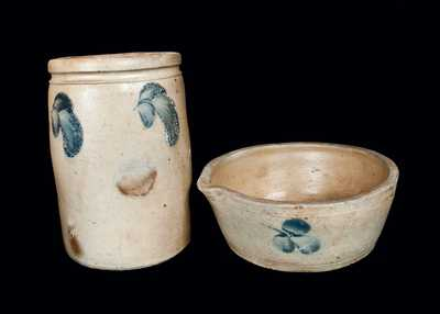 Lot of Two: Baltimore Stoneware Crock and Milkpan