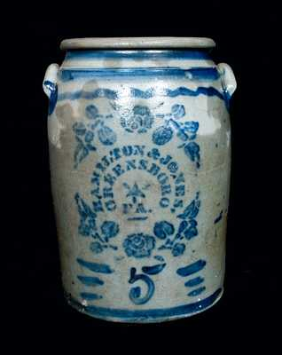 HAMILTON & JONES Stoneware Crock with Stenciled Flowers and Star