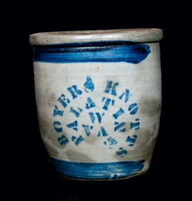BOYERS & KNOTTS / PALATINE, W. VA Stoneware Cream Jar