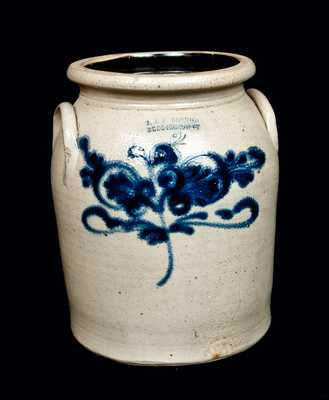 J. & E. NORTON Stoneware Crock with Flower