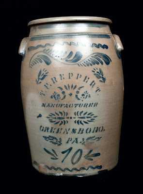 Ten-Gallon T. F. REPPERT / GREENSBORO, PA Stoneware Crock
