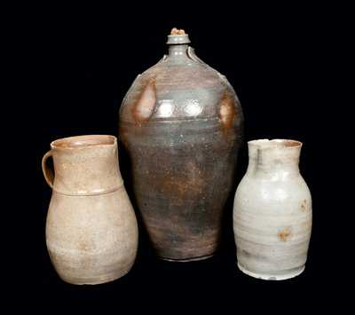 Lot of Three: North Carolina Stoneware Vessels, Including Double-Handled Jug