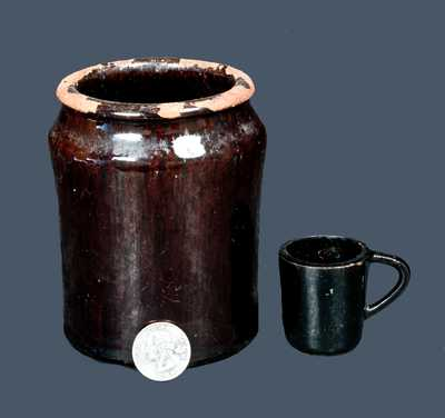 Lot of Two: Miniature Redware Mug and Quart-Sized Redware Jar