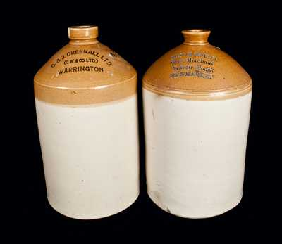 Lot of Two: English Stoneware Liquor Jugs