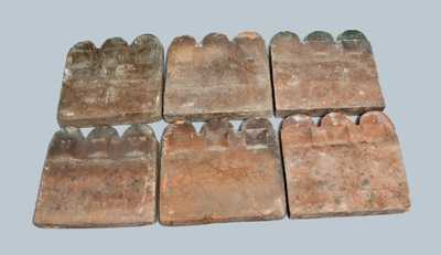 Lot of Six: Georgia Pottery Slave Tiles