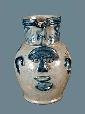 Important Samuel Bell (Shenandoah Valley, Strasburg, VA) Stoneware Face Pitcher
