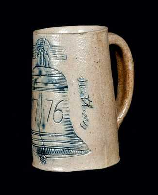 Rare Signed Philadelphia Stoneware Mug with Incised Liberty Bell