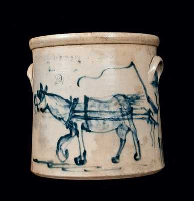 OTTMAN BROS. & CO. / FT. EDWARD, NY Stoneware Horse Crock