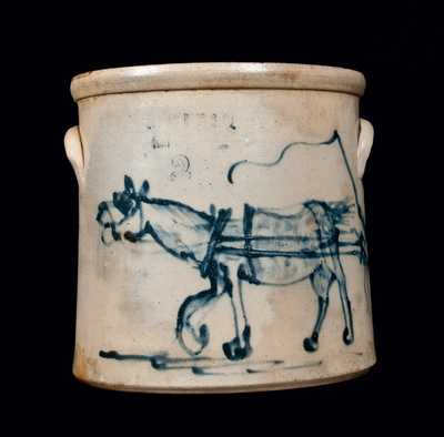 Important Stoneware Crock with Horse and Driver, OTTMAN BROS & CO. / FT. EDWARD, NY