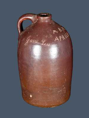 Dated WV Stoneware Presentation Jug Incised