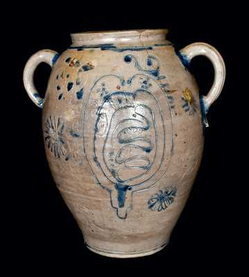 Important Profusely-Decorated Incised Stoneware Jar, Manhattan or New Jersey, circa 1750