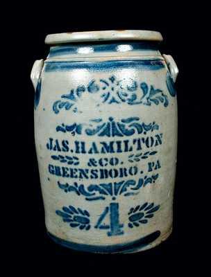 JAS. HAMILTON & CO. / GREENSBORO, PA Stoneware Crock