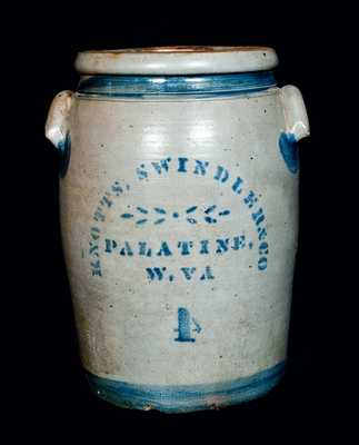 KNOTTS, SWINDLER & CO. / PALATINE, W. VA. Stoneware Crock