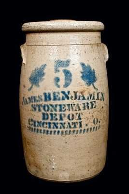 JAMES BENJAMIN / CINCINNATI, O Stoneware Churn