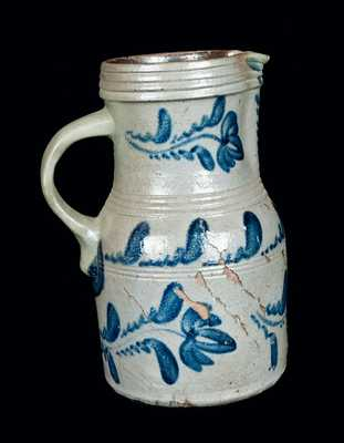 Western PA Stoneware Pitcher with Elaborate Floral Decoration