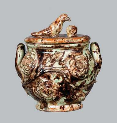Outstanding Anthony Baecher, Winchester, VA, Redware Sugar Bowl