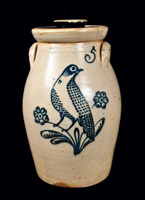 T. HARRINGTON / LYONS Stoneware Churn with Elaborate Bird Decoration