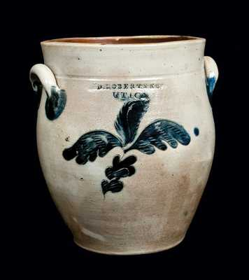 Exceptional D. ROBERTS / UTICA Incised Stoneware Crock