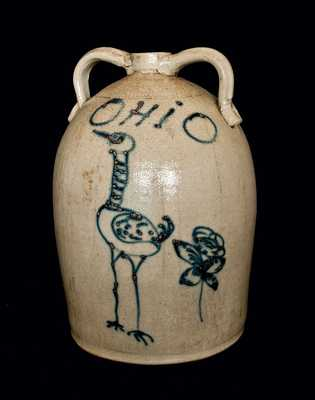 Monumental Red Wing Stoneware Jug with Large Bird and