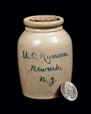 Rare Miniature Salesman's Sample Newark, NJ Script Stoneware Advertising Jar