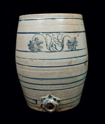 Monumental 10 Gal. Stoneware Keg with Incised Decoration