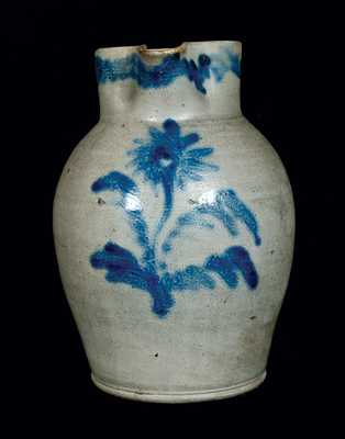2 Gal. Stoneware Pitcher w/ Ornate Floral Decoration, Baltimore, circa 1820