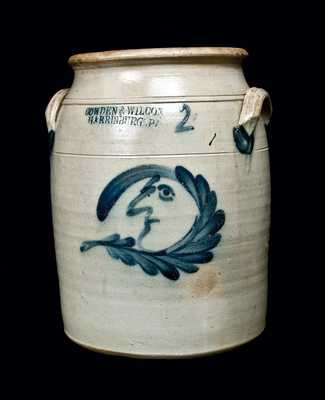 COWDEN & WILCOX Stoneware Crock with Man-in-the-moon Decoration