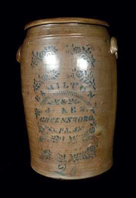 20 Gal. HAMILTON & JONES / GREENSBORO, PA Stoneware Crock