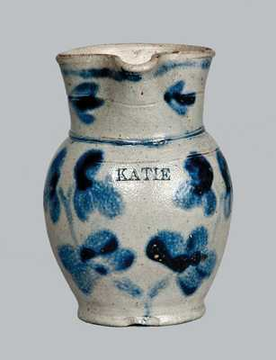 Exceptional Baltimore Stoneware Toy Pitcher Inscribed